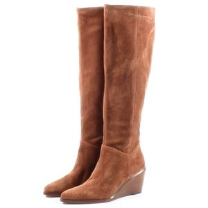 Vince Marlow Tall Suede Leather Wedge Boots Brown